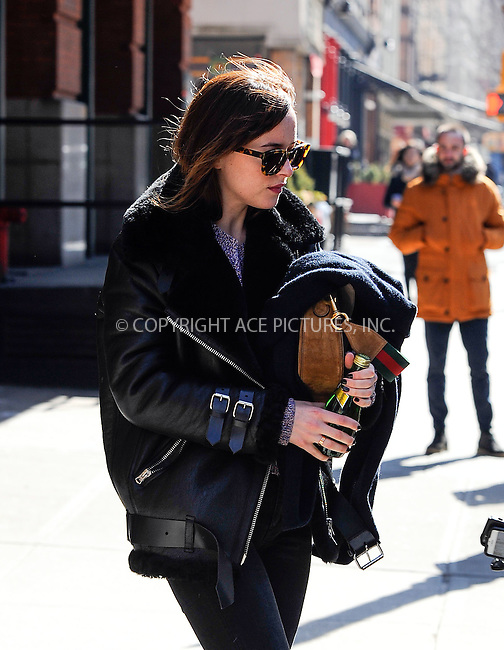 WWW.ACEPIXS.COM<br /> <br /> February 25 2015, New York City<br /> <br /> Actress Dakota Johnson leaves a downtown hotel on February 25 2015 in New York City<br /> <br /> By Line: Curtis Means/ACE Pictures<br /> <br /> <br /> ACE Pictures, Inc.<br /> tel: 646 769 0430<br /> Email: info@acepixs.com<br /> www.acepixs.com