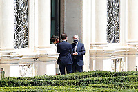 Minister Paola Pisano and the Governor of the Bank of Italy Ignazio Visco talking in the gardens of Villa Pamphilj, where the Italian Premier convened the States General of Economy. The summit was strictly behind closed doors and the press was kept outside. Rome (Italy), June 13th 2020<br /> Samantha Zucchi Insidefoto