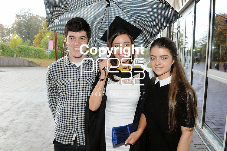 24/10/2014  With Compliments,  Attending the Mary Immaculate College Conferrings were Sarah O' Farrell, who was conferred with a Bachelor of Education in Primary Teaching, with Denis and Emer O' Farrell, Watergrasshill, Cork.<br /> Pic: Gareth Williams / Press22