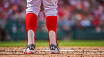 14 April 2013: Washington Nationals outfielder Bryce Harper sports traditional baseball socks during a game against the Atlanta Braves at Nationals Park in Washington, DC. The Braves shut out the Nationals 9-0 to sweep their 3-game series. Mandatory Credit: Ed Wolfstein Photo *** RAW (NEF) Image File Available ***