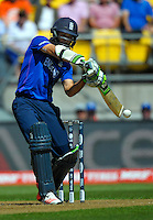 Moeen Ali bats during the ICC Cricket World Cup one day pool match between the New Zealand Black Caps and England at Wellington Regional Stadium, Wellington, New Zealand on Friday, 20 February 2015. Photo: Dave Lintott / lintottphoto.co.nz