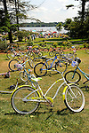 Childrens bicycles at the Eagles Mere Beach Association.