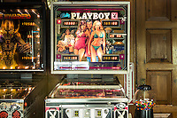 A Playboy pinball machine in the Game House at the Playboy Mansion, Los Angeles, Calif. January 8, 2016.<br /> CREDIT: Lisa Corson for The Wall Street Journal<br /> Slug: PLAYBOY
