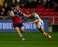 Bristol Bears' Harry Randall eevades the tackle of Wasps' Dan Robson<br /> <br /> Photographer Bob Bradford/CameraSport<br /> <br /> Gallagher Premiership - Bristol Bears v Wasps - Friday 15th February 2019 - Ashton Gate - Bristol<br /> <br /> World Copyright © 2019 CameraSport. All rights reserved. 43 Linden Ave. Countesthorpe. Leicester. England. LE8 5PG - Tel: +44 (0) 116 277 4147 - admin@camerasport.com - www.camerasport.com