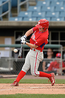 Andrew Noviello (15) of Bridgewater-Raynham Regional High School in Raynham, Massachusetts playing for the Philadelphia Phillies scout team during the East Coast Pro Showcase on July 30, 2014 at NBT Bank Stadium in Syracuse, New York.  (Mike Janes/Four Seam Images)