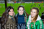 Legion supporters Saoirse O@Connor, Abby O'Donoghue and Sarah Leahy cheering the Legion at the AIB Munster club SFC clash against Nemo Rangers in Pairc Uí Rinn on Sunday