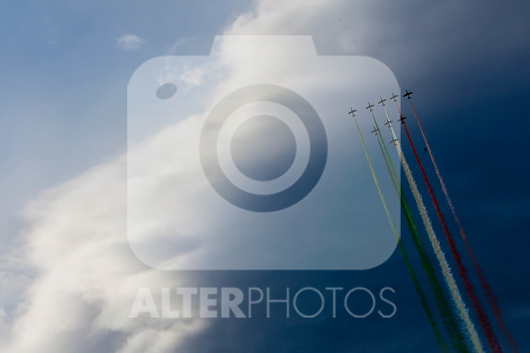 "01.07.2011, Fliegerhorst Hinterstoisser, Zeltweg, AUT, AIRPOWER 2011, im Bild Frecce Tricolori, MB339, Display  während der ,,Airpower 11"" Flugshow in Zeltweg, Österreich. // Frecce Tricolori, MB339, Display during the ""Airpower 10"" air show on the Air Base Hinterstoisser in Zeltweg, Austria on 2011/07/01, EXPA Pictures © 2011, PhotoCredit: EXPA/ J. Feichter"