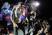 WEST PALM BEACH - AUGUST 8: Chester Bennington and Mike Shinoda of Linkin Park perform at the Cruzan Amphitheatre on August 8, 2014 in West Palm Beach, Florida.(Photo By Larry Marano (C) 2014