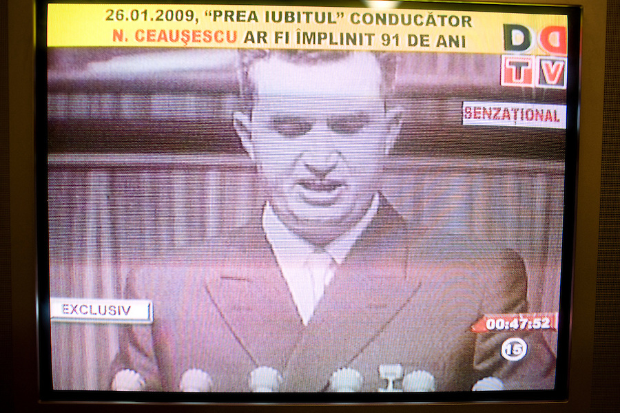 ROMANIA / Bucharest / 26.01.2009..A television screen shot of Romanian Communist dictator Nicolae Ceausescu at a rally in support of his regime. Romanian television played a documentary about his rule of Romania on the occasion of his birthday, 26 January. Ceausescu would have been 91 years-old in 2009, but he and his wife were executed by firing squad on Christmas day 1989 during the Romanian revolution. Romania experienced the most oppressive of the former Eastern Bloc's Communist regimes and by the late 1980s shops were empty of food, the imfamous secret police called the Securitate had created a police state and Ceausescu had launched grandisose Communist building projects modeled after North Korea that involved leveling one fifth of historic Bucharest...© Davin Ellicson / Anzenberger