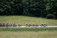 yellow jersey / GC leader Geraint Thomas (GBR/SKY) &amp; team + peloton up the first climb of the day: the Mont&eacute;e de Bisanne<br /> <br /> Stage 6: Frontenex &gt; La Rosi&egrave;re Espace San Bernardo (110km)<br /> 70th Crit&eacute;rium du Dauphin&eacute; 2018 (2.UWT)