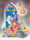 Interlitho, Lorella, REALISTIC ANIMALS, Halloween, paintings, witch, cat, ghost, mice(KL3659,#A#)