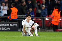 A despondent  Son Heung-Min of Tottenham Hotspur after Tottenham Hotspur vs Juventus, UEFA Champions League Football at Wembley Stadium on 7th March 2018