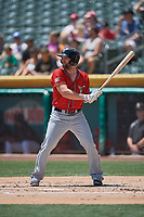 Shane Peterson (18) of the El Paso Chihuahuas bats against the Salt Lake Bees at Smith's Ballpark on July 8, 2018 in Salt Lake City, Utah. El Paso defeated Salt Lake 15-6. (Stephen Smith/Four Seam Images)