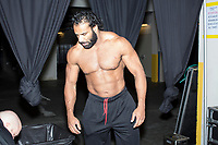 WWE Champion Jinder Mahal is seen in the trainer area before a match as part of the WWE Live Summerslam Heatwave Tour at the MassMutual Center in Springfield, Massachusetts, USA, on Mon., Aug. 14, 2017.