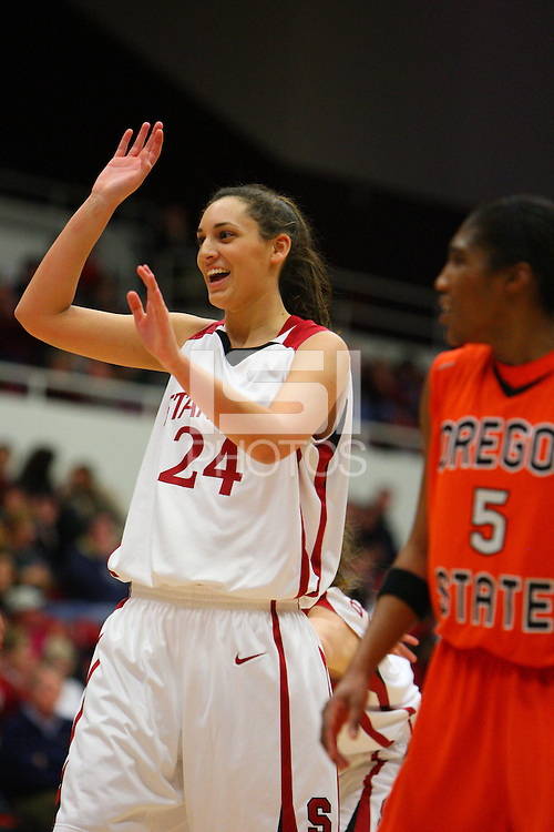 10 January 2008: Stanford Cardinal Ashley Cimino during Stanford's 81-45 win against the Oregon State Beavers at Maples Pavilion in Stanford, CA.