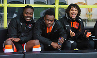 Blackpool's Joe Dodoo, left, with team-mates Marc Bola, centre, and Nya Kirby prior to the game<br /> <br /> Photographer Chris Vaughan/CameraSport<br /> <br /> The EFL Sky Bet League One - Burton Albion v Blackpool - Saturday 16th March 2019 - Pirelli Stadium - Burton upon Trent<br /> <br /> World Copyright &copy; 2019 CameraSport. All rights reserved. 43 Linden Ave. Countesthorpe. Leicester. England. LE8 5PG - Tel: +44 (0) 116 277 4147 - admin@camerasport.com - www.camerasport.com
