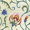 Ester, a hand-cut mosaic,  shown in Peridot, Aventurine, Garnet, Sardonyx, Rose Quartz, Lapis Lazuli, Blue Spinel, Iolite, Citrine, and Quartz Sea Glass™.