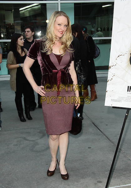 "ASHLEY PALMER .""In My Sleep"" - Los Angeles Premiere -Arrivals held at The ArcLight Cinemas, Hollywood, California, USA, .15th April 2010..full length red maroon burgundy dress hand on hip velvet bow ribbon jacket tweed black bag brown shoes .CAP/ADM/TC.©T. Conrad/AdMedia/Capital Pictures."