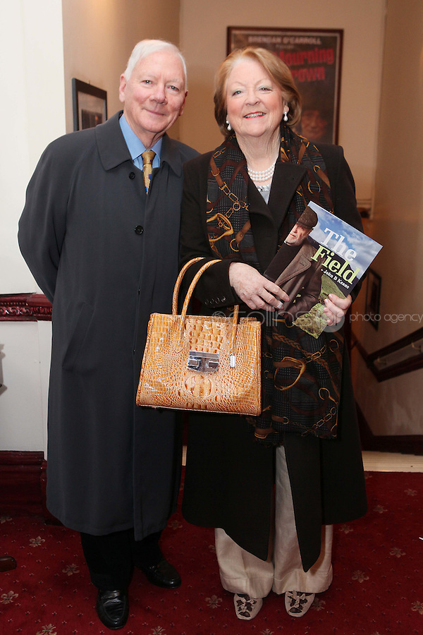 "NO REPRO FEE. 17/1/2010. The Field opening night. Gay Byrne and Kathleen Watkins are pictured at the Olympia Theatre for the opening night of John B Keanes 'The Field"" Picture James Horan/Collins"