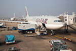 Qatar Airways plane, Bandaranayake International Airport, Colombo, Sri Lanka, Asia