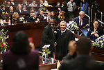 Nevada Assemblyman Tyrone Thompson, D-North Las Vegas, poses for photos with Nevada Supreme Court Chief Justice James Hardesty during opening day ceremonies at the Legislative Building in Carson City, Nev., on Monday, Feb. 2, 2015. (Cathleen Allison/Las Vegas Review-Journal)