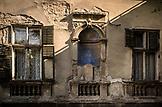 SERBIA, Belgrade, Crumbling building in downtown Belgrade, Eastern Europe