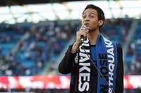 SAN JOSE, CA - AUGUST 24: National anthem singer prior to a Major League Soccer (MLS) match between the San Jose Earthquakes and the Vancouver Whitecaps FC  on August 24, 2019 at Avaya Stadium in San Jose, California.