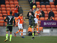 Blackpool's Will Aimson and Bristol Rovers' Rory Gaffney<br /> <br /> Photographer Stephen White/CameraSport<br /> <br /> The EFL Sky Bet League One - Blackpool v Bristol Rovers - Saturday 13th January 2018 - Bloomfield Road - Blackpool<br /> <br /> World Copyright &copy; 2018 CameraSport. All rights reserved. 43 Linden Ave. Countesthorpe. Leicester. England. LE8 5PG - Tel: +44 (0) 116 277 4147 - admin@camerasport.com - www.camerasport.com