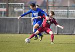 2018-02-18 / Voetbal / Seizoen 2017-2018 / Wuustwezel - Olmen / Martijn Plessers (l. Olmen) met Maxim Bevers<br /> <br /> ,Foto: Mpics.be