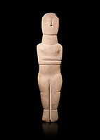 Female Cycladic Canonical type, Spedos variety female figurine statuette. Early Cycladic Period II from Syros phase , (2800-2300 BC). Museum of Cycladic Art Athens,  Against black<br /> <br /> Traces of painted decoration in red were found on the face and trunk. The nose was painted completely and four verticle bands are visible in the forehead, three on the neck and traces of bands on the chest and oblique bands on the forearms, seven on the left four on the right.