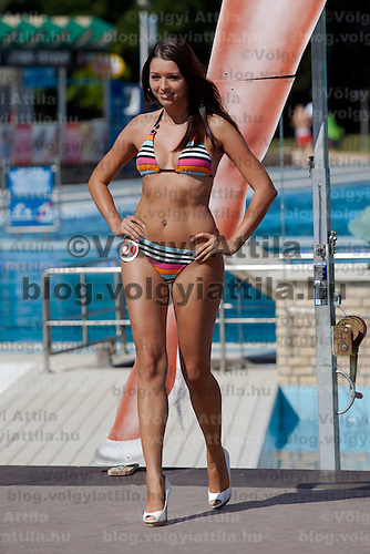 Anett Gyorfi participates the Miss Bikini Hungary beauty contest held in Budapest, Hungary on August 29, 2010. ATTILA VOLGYI