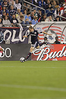 Second half substitute New England Revolution forward Zak Boggs (33) fakes a cross. The New England Revolution defeated the New York Red Bulls, 3-2, at Gillette Stadium on May 29, 2010.