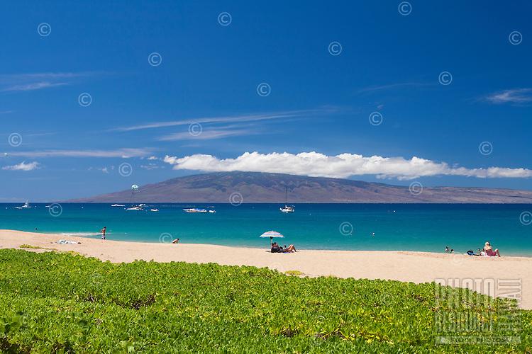 Beautiful day at Ka'anapali Beach, Maui, with Lanai in the distance.