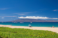 Beautiful day at Ka'anapali Beach, Maui, with Lanai in the distance.
