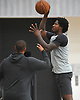 Ed Davis #17 of the Brooklyn Nets, right, shoots a jumoer during team practice held at the HSS Training Center in Brooklyn, NY on Tuesday, Sept. 25, 2018.