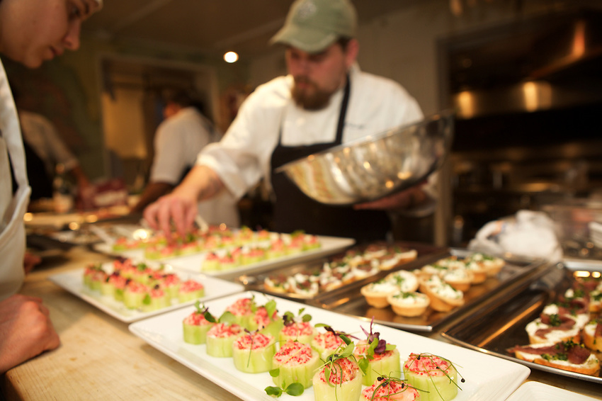 NEW YORK, NY - May 15, 2017: Chef Michael Isolani of Trinity in New Orleans presents 'Stylish Creole,' a dinner at the James Beard House.<br /> <br /> Credit: Clay Williams for the James Beard Foundation.<br /> <br /> &copy; Clay Williams / http://claywilliamsphoto.com
