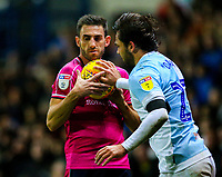 Blackburn Rovers' Bradley Dack returns the ball to Queens Park Rangers' Angel Rangel<br /> <br /> Photographer Alex Dodd/CameraSport<br /> <br /> The EFL Sky Bet Championship - Blackburn Rovers v Queens Park Rangers - Saturday 3rd November 2018 - Ewood Park - Blackburn<br /> <br /> World Copyright © 2018 CameraSport. All rights reserved. 43 Linden Ave. Countesthorpe. Leicester. England. LE8 5PG - Tel: +44 (0) 116 277 4147 - admin@camerasport.com - www.camerasport.com