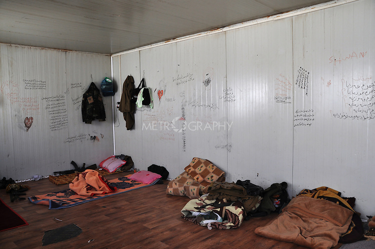 01/07/14  Iraq -- Daquq, Iraq -- The bed room of the peshmerga fighters at the base in Albu Muhamad village, Daquq.