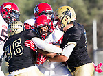 Palos Verdes, CA 10/27/17 - Andrew Tate (Morningside #5), Jared Patterson (Peninsula #36) and Jason Augello (Peninsula #58)in action during the Morningside Monarchs - Palos Verdes Peninsula Varsity football game at Peninsula High School.