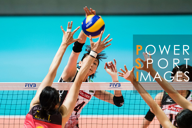 Middle blocker Ayaka Matsumoto of Japan spikes the ball during the FIVB Volleyball World Grand Prix match between China vs Japan on July 21, 2017 in Hong Kong, China. Photo by Marcio Rodrigo Machado / Power Sport Images