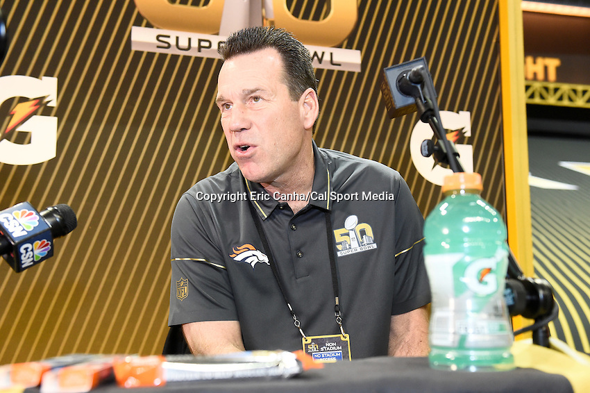 Monday, February 1, 2016: Denver Broncos head coach Gary Kubiak talks to members of the media during the opening day of  press conferences for the National Football League Super Bowl 50 between the Denver Broncos and the Carolina Panthers at the SAP Center, in San Jose, California. Eric Canha/CSM