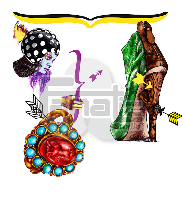 Illustrative image of woman with boot and ring representing Sagittarius sign