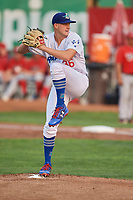 Ogden Raptors starting pitcher Brett De Geus (36) delivers a pitch during a game against the Orem Owlz at Lindquist Field on August 4, 2018 in Ogden, Utah. The Owlz defeated the Raptors 15-12. (Stephen Smith/Four Seam Images)