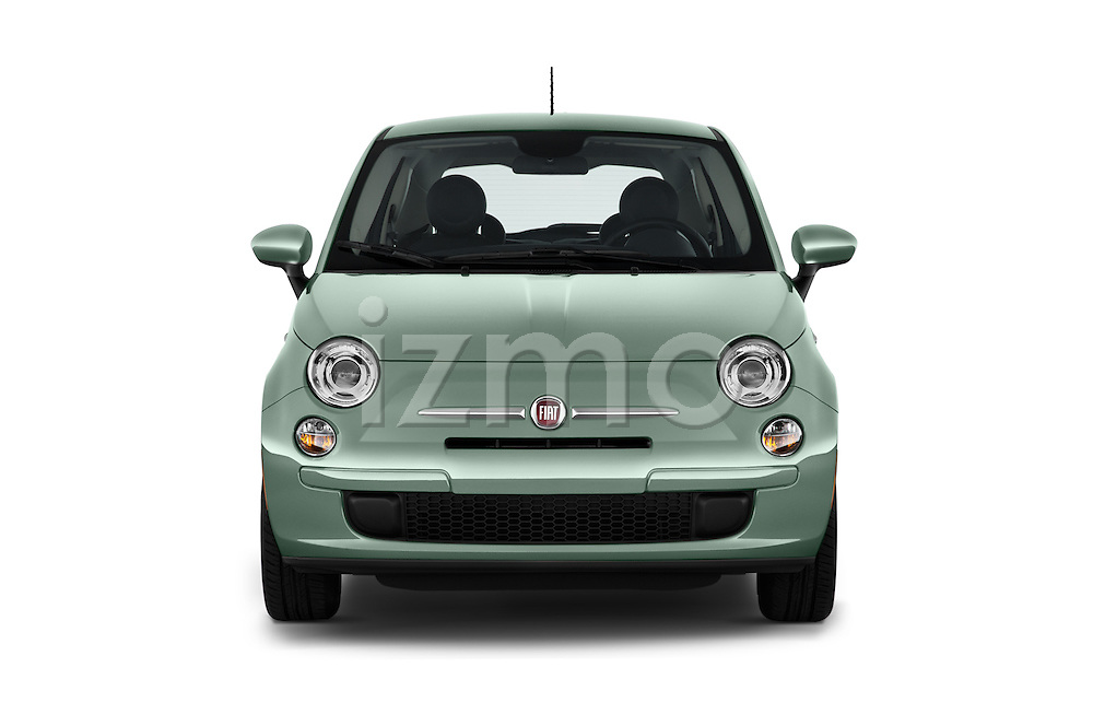 Car photography straight front view of a 2016 Fiat 500 Pop 3 Door Hatchback Front View