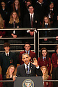 US President Barack Obama address school children on stage at the Waterfront Hall, Belfast, Northern Ireland, Monday, June 17, 2013, ahead of the G8 summit in Northern Ireland. Leaders from Canada, France, Germany, Italy, Japan, Russia, USA and UK are meeting at Lough Erne in Northern Ireland for the G8 Summit 17-18 June. Photo/Paul McErlane