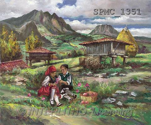 Enrique, LANDSCAPES, paintings, kids, landscape(SPMC1351,#L#) Landschaften, Schiffe, paisajes, barcos, llustrations, pinturas