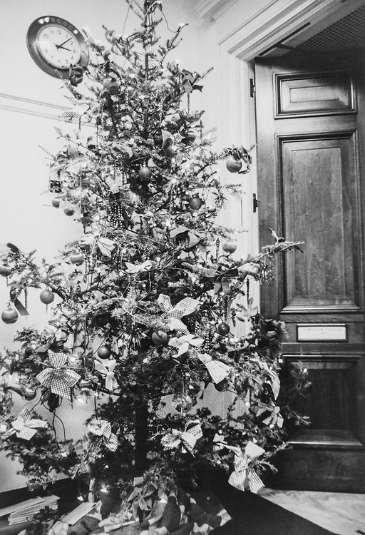 Decorated Christmas tree in office during Christmas contest. (Photo by CQ Roll Call via Getty Images)
