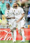 Real Madrid's Vinicius Junior (l) and Karim Benzema celebrate goal during La Liga match. September 14,2019. (ALTERPHOTOS/Acero)