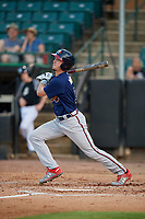 Mississippi Braves Drew Waters (3) at bat during a Southern League game against the Jackson Generals on July 23, 2019 at The Ballpark at Jackson in Jackson, Tennessee.  Mississippi defeated Jackson 1-0 in the second game of a doubleheader.  (Mike Janes/Four Seam Images)