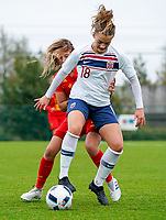 20191101 - Tubize: Norwegian Guro Hammer Ron (18) and Belgian Melissa Tom (red) pictured during the international friendly match between Red Flames U16 (Belgium) and Norway U16 on 1 November 2019 at Belgian Football Centre, Tubize. PHOTO:  SPORTPIX.BE   SEVIL OKTEM